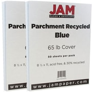 JAM Paper® Parchment Cardstock, 8.5 x 11, 65lb Blue Recycled, 2 packs of 50 (96700000g)