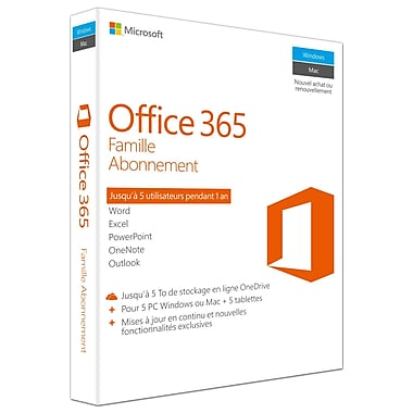 Microsoft – Office 365 Famille, abonnement d'un an, français