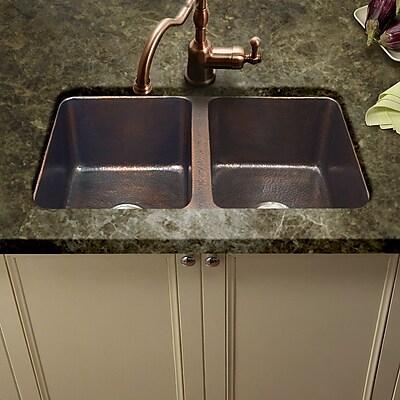 Houzer Hammerwerks 34.25'' x 21'' ChaletChef Double Bowl Kitchen Sink