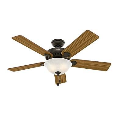 Hunter Fan 52'' Pro's Best Five Minute 5-Blade Fan; Bronze with Dark Cherry/Medium Oak Blades