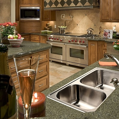 Houzer Glowtone 33'' x 22'' Double Basin Drop-In Kitchen Sink; 3 Holes