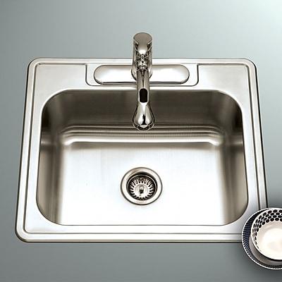 Houzer Glowtone ADA Compliant 25'' x 22'' Topmount Single Bowl 18 Gauge Kitchen Sink; 4 Holes
