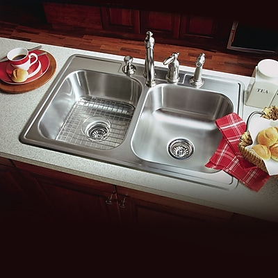 Houzer Glowtone ADA Compliant 33'' x 22'' Topmount Double Bowl 18 Gauge Kitchen Sink; 3 Holes