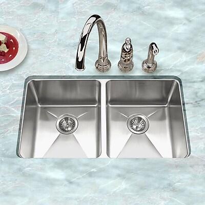 Houzer Nouvelle 31.13'' x 18'' Undermount 50/50 Double Bowl Kitchen Sink