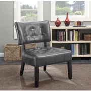 Roundhill Furniture Anjotiya Faux Leather Tufted Chair; Gray
