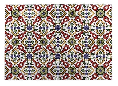 Kavka Kaleidoscope Indoor/Outdoor Doormat; Red/ Purple/ Gold