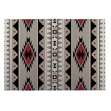 Kavka Gray/Red Indoor/Outdoor Doormat; 4' x 5'