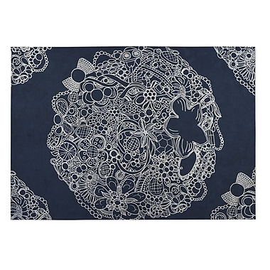 Kavka Adorned Blue Indoor/Outdoor Doormat; 4' x 5'