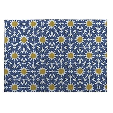 Kavka Sun Burst Blue Indoor/Outdoor Doormat; 4' x 5'