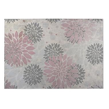 Kavka Bloom Pink/Gray Indoor/Outdoor Doormat; 4' x 5'