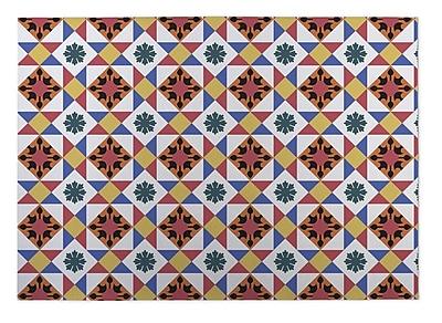 Kavka Diamond Tiles Indoor/Outdoor Doormat; Red/ Gold/ Blue
