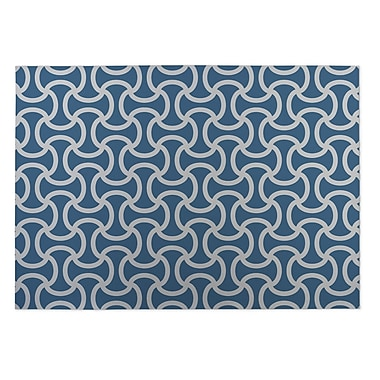 Kavka Gray/Blue Indoor/Outdoor Doormat; 4' x 5'