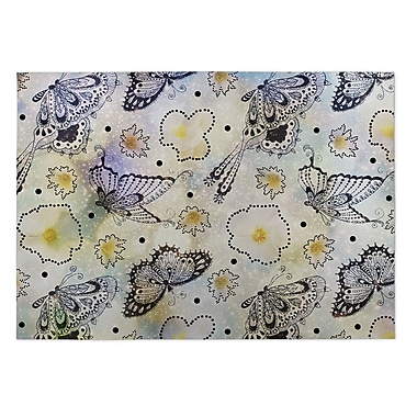 Kavka Butterfly Effect Yellow/Purple Indoor/Outdoor Doormat; 4' x 5'