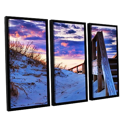 ArtWall Sunset At Ocracoke by Steve Ainsworth 3 Piece Framed Photographic Print Set