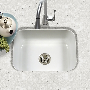 Houzer Porcela 22.76'' x 17.4'' Porcelain Enamel Steel Undermount Single Kitchen Sink; White