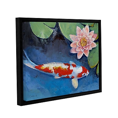 ArtWall Koi And Water Lily by Michael Creese Framed Painting Print; 36'' H x 48'' W
