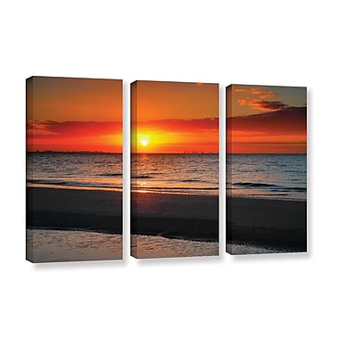 ArtWall Sunrise Over Sanibel by Steve Ainsworth 3 Piece Photographic Print on Wrapped Canvas Set