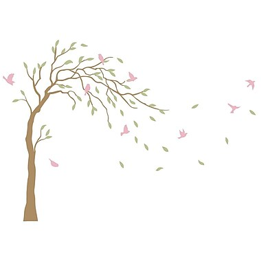 The Decal Guru Tree and Birds in Breeze Wall Decal; Light Brown/Green/Pink