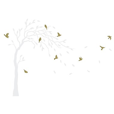 The Decal Guru Tree and Birds in Breeze Wall Decal; White/Gold