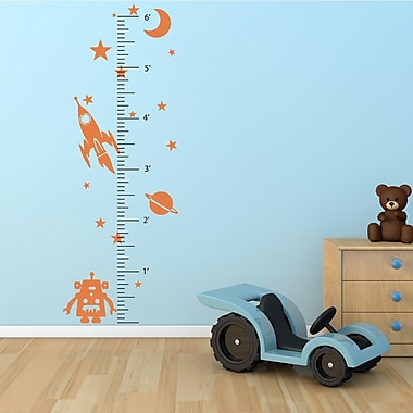 The Decal Guru Space Robot Growth Chart Wall Decal; Persimmon