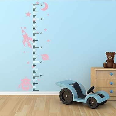 The Decal Guru Space Robot Growth Chart Wall Decal; Carnation Pink