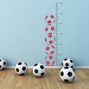 The Decal Guru Soccer Growth Chart Wall Decal; Dahlia Red