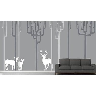 The Decal Guru Winter Trees Wall Decal; Gray/White