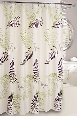 Moda At Home Fern Frond Fabric Shower Curtain; Cream