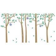 The Decal Guru Birch Trees and Bird Houses Wall Decal; Light Brown / Green / Blue