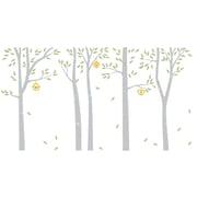 The Decal Guru Birch Trees and Bird Houses Wall Decal; Gray / Celadon / Yellow
