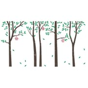 The Decal Guru Birch Trees and Bird Houses Wall Decal; Brown / Green / Red