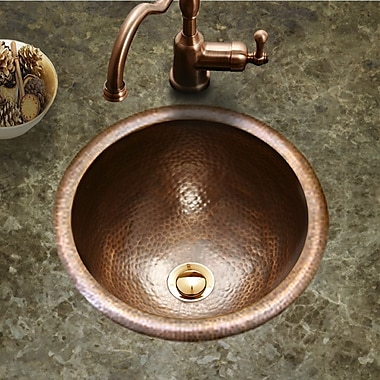 Houzer Hammerwerks Metal Circular Drop-In Bathroom Sink w/ Overflow; Copper