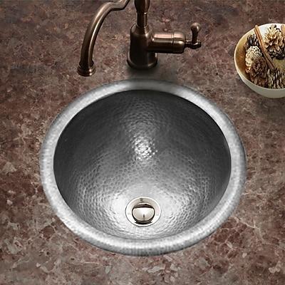 Houzer Hammerwerks Metal Circular Drop-In Bathroom Sink w/ Overflow; Pewter
