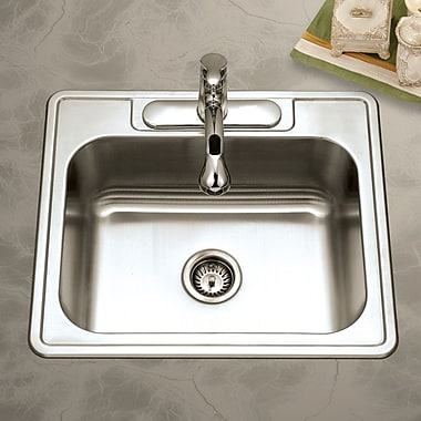 Houzer Glowtone 25'' x 22'' Topmount Single Bowl 20 Gauge Kitchen Sink; 3 Holes