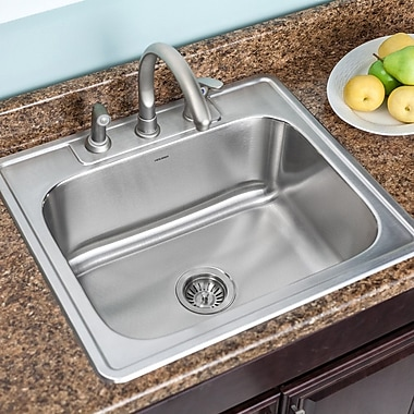 Houzer Glowtone 25'' x 22'' Topmount Single Bowl 18 Gauge Kitchen Sink; 4 Holes