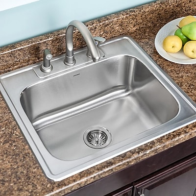 Houzer Glowtone 25'' x 22'' Topmount Single Bowl 18 Gauge Kitchen Sink; 3 Holes