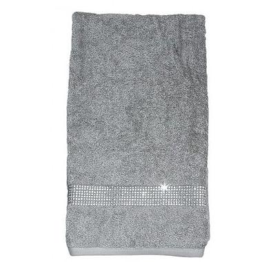 Sparkles Home Rhinestone Stripe Bath Towel; White