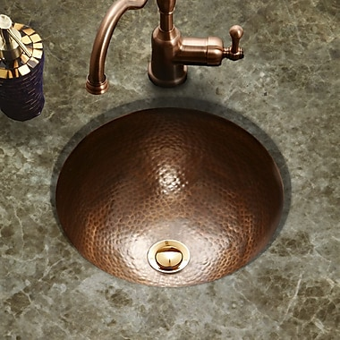 Houzer Hammerwerks Classic Flat Lip Circular Undermount Bathroom Sink w/ Overflow; Copper