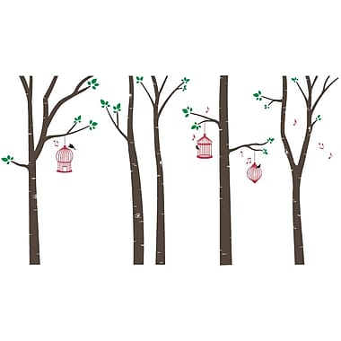 The Decal Guru Bird Cages in Birch Trees Wall Decal; Brown/Red