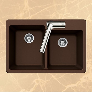 Houzer Quartztone 33'' x 22'' 60/40 Double Bowl Topmount Kitchen Sink; Earth