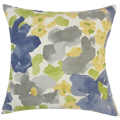 The Pillow Collection Qing Floral Plush Cotton Throw Pillow; 18'' H x 18'' W x 5'' D