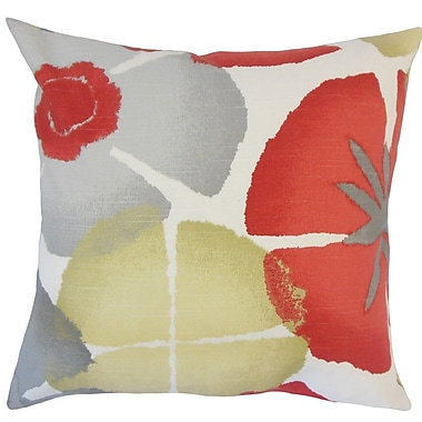 The Pillow Collection Samiya Floral Coral Cotton Throw Pillow; 18'' H x 18'' W x 5'' D