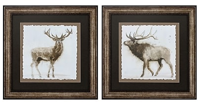 Propac Images Stag Elk 2 Piece Framed Painting Print Set