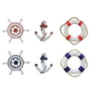 Handcrafted Nautical Decor 6-Piece Anchor, Life Ring, and Ship Wheel Magnets Wall Decor