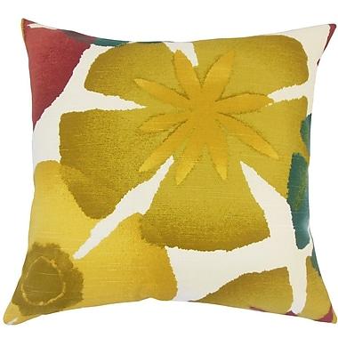 The Pillow Collection Samiya Floral Pomegrenate Cotton Throw Pillow; 18'' H x 18'' W x 5'' D