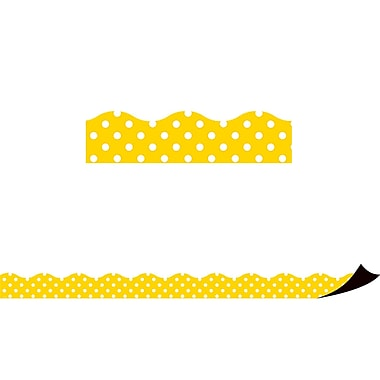 Teacher Created Resources Polka Dots Magnetic Borders, Yellow, 12/Pack (TCR77258)