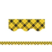 "Teacher Created Resources 35' x 3"" Yellow Plaid Scalloped Border Trim (TCR5662)"