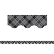 "Teacher Created Resources 35"" x 2.18""  Gray Plaid Scalloped Border Trim (TCR5660)"