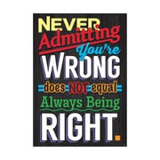 "Argus® 19 x 13"" NEVER Admitting You're WRONG Poster (T-A67049)"