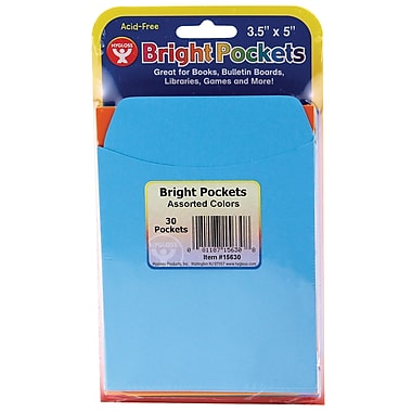 Hygloss Assorted Color Bright Pockets, 6 Count of 30 Packs Per Order (HYG15630)